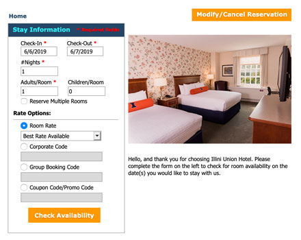 website form used to reserve a room